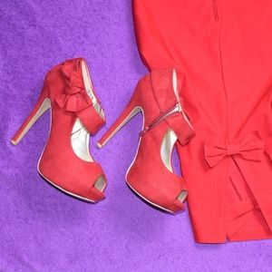 Shoes - RED SUEDE LIKE SHOES WITH BOWS AND SIDE ZIPPER